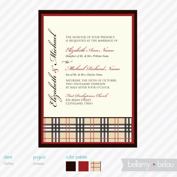 Burberry inspired invitation plaid wedding invitations for Where can i buy party invitations