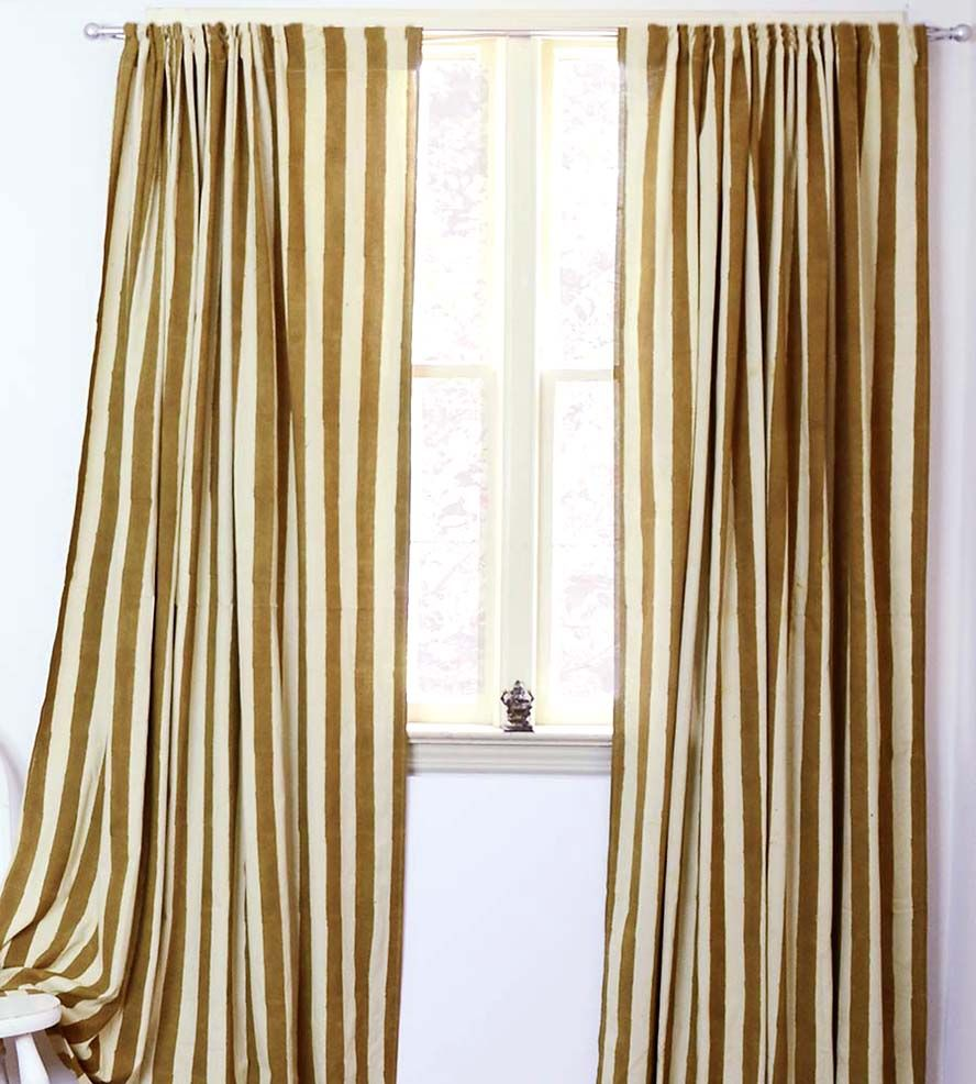 Stripe Block Print Curtains | Decorated in gold and beige stripes, these cotton curtains are... | Curtains & Drapes