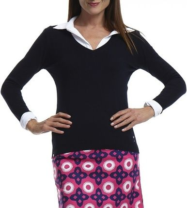 Golftini's long sleeve navy sweater is cozy and comfortable for golf or every day use!