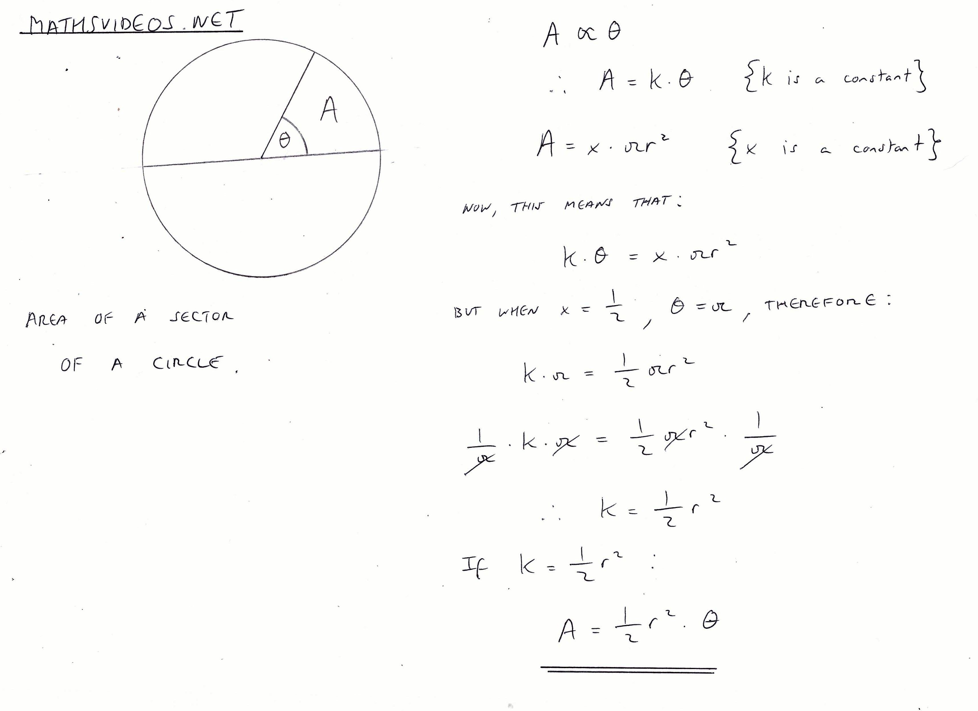 Area Of A Sector Of A Circle Proof Sectors Mathematics