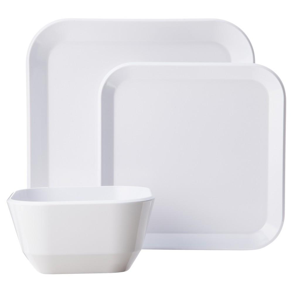Square Dinnerware Set 12-pc. Melamine White - Room Essentials True White Uv  sc 1 st  Pinterest & Square Dinnerware Set 12-pc. Melamine White - Room Essentials True ...