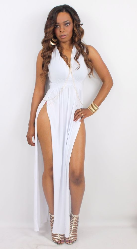 34f7460b377207 Sexy Sleeveless Deep Cleavage Plunge Maxi Dress with Two High Split Slit  Skirt