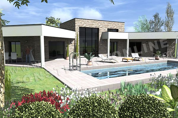 Plan de maison en u contemporaine amazone piscine maison for Modele maison simple