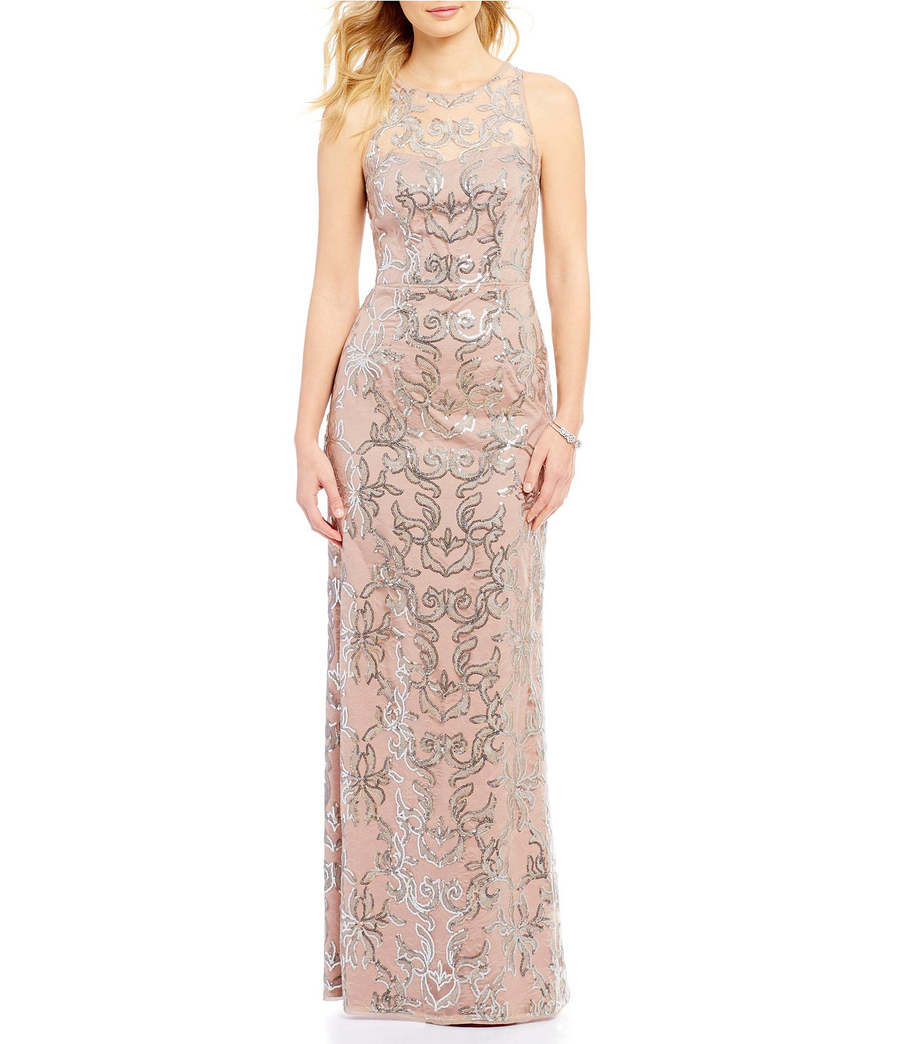 Shop for adrianna papell sequin lace illusion halter neck gown at