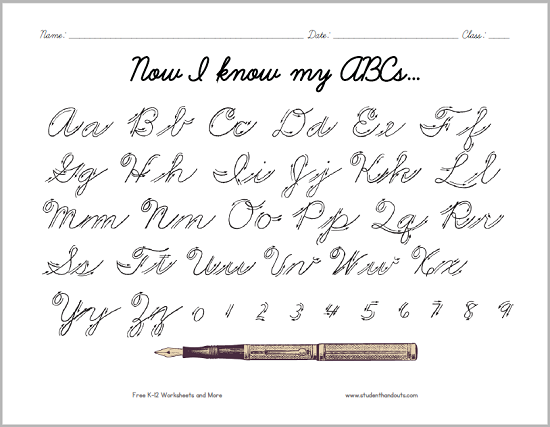 cursive script alphabet with arrows here is a convenient handout for students learning to. Black Bedroom Furniture Sets. Home Design Ideas