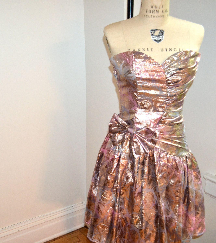 Metallic us prom dress by jessica mcclintock by hookedonhoney