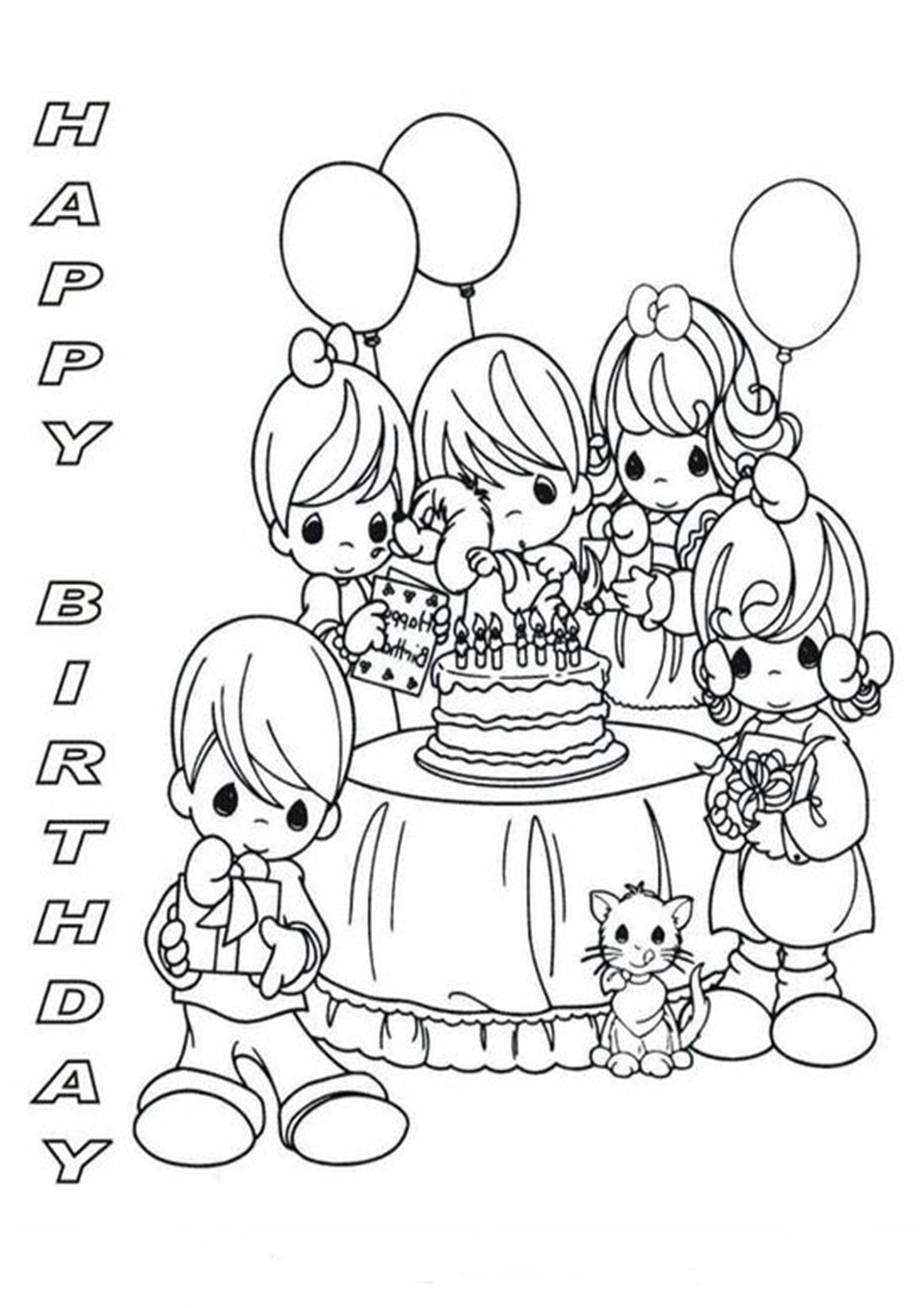Free & Easy To Print Happy Birthday Coloring Pages in 2020 ...