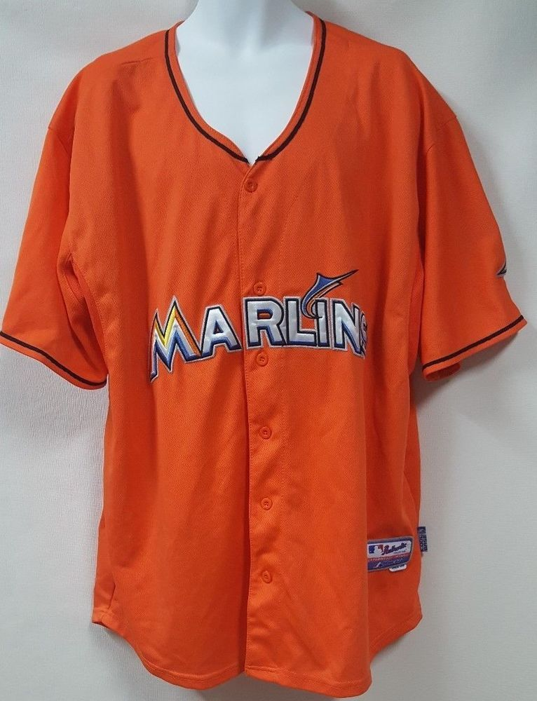 pretty nice e7d8d d3255 Vintage Majestic Orange Marlins Baseball Jersey Stanton #27 ...