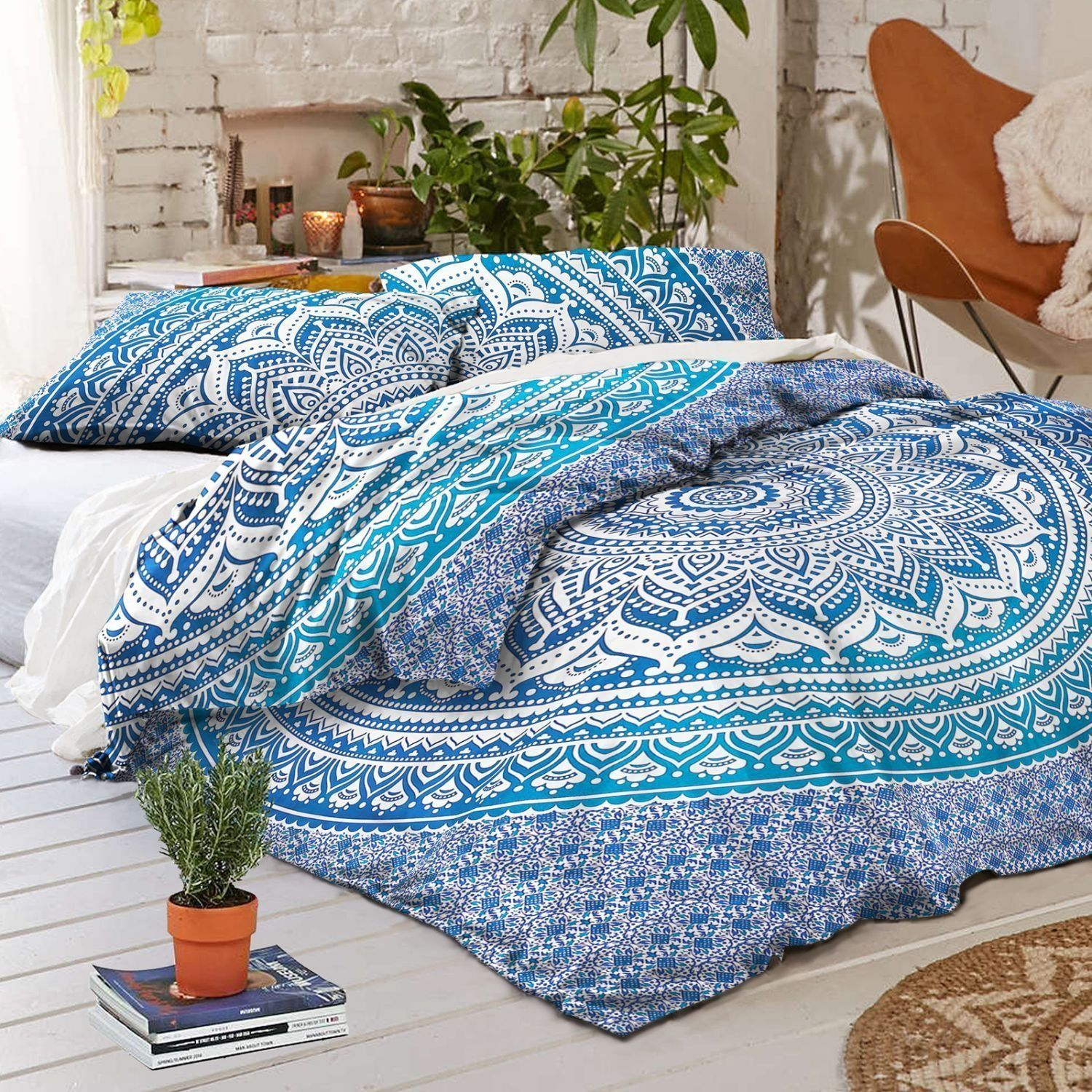 Photo of SKY BLUE COTTON DUVET COVER WITH 2 PILLOW COVER SIZE QUEEN