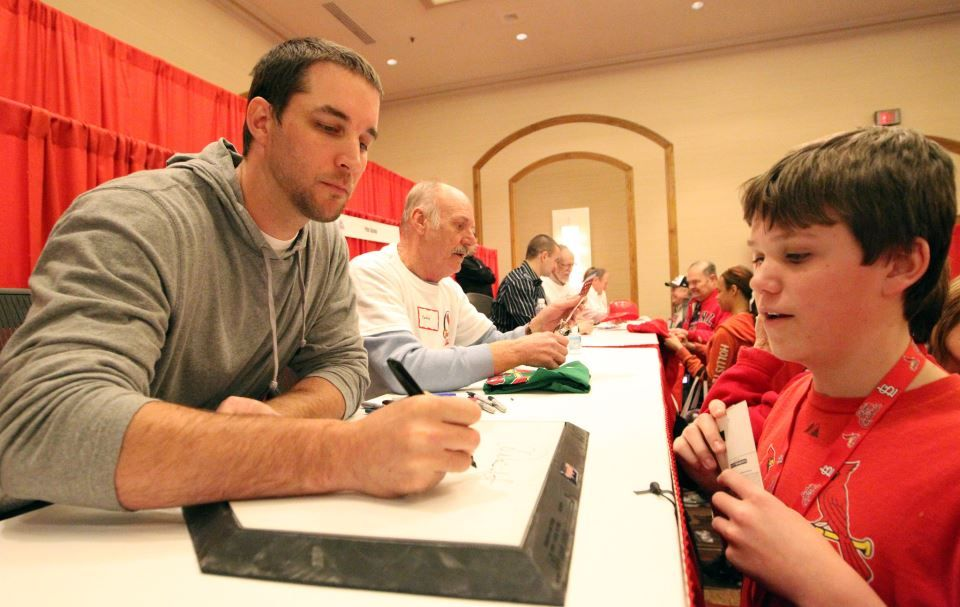 Waino signing looking serious for a change.