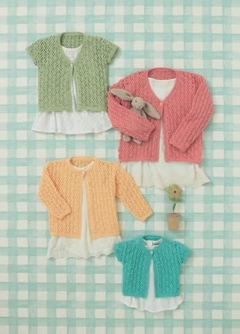 Babies And Girls Cardigans In Sirdar Snuggly 4 Ply 4643