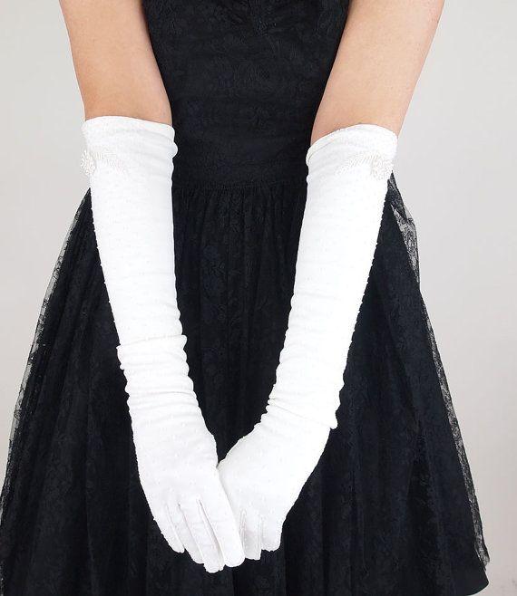 50s 60s Long White Gloves Elaborately Hand Beaded Opera