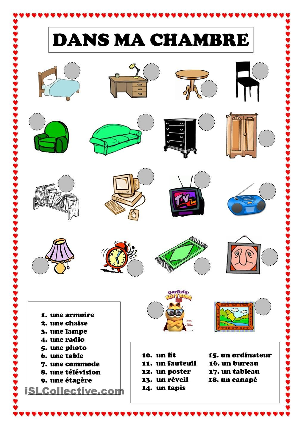 Dans ma chambre language learning french and teaching for Chambre in french