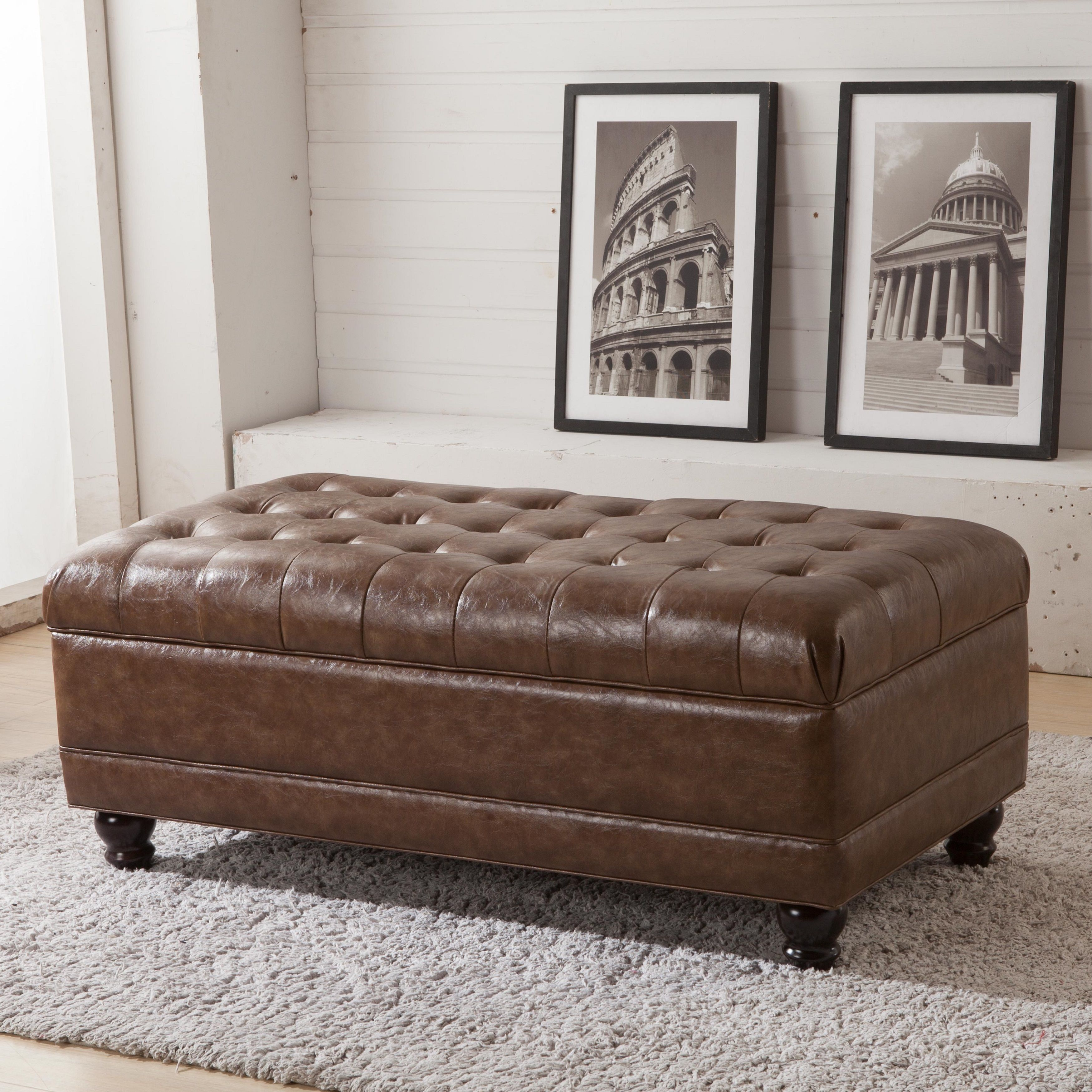The button-tufted storage bench ottoman offers a tufted, pillowy ...