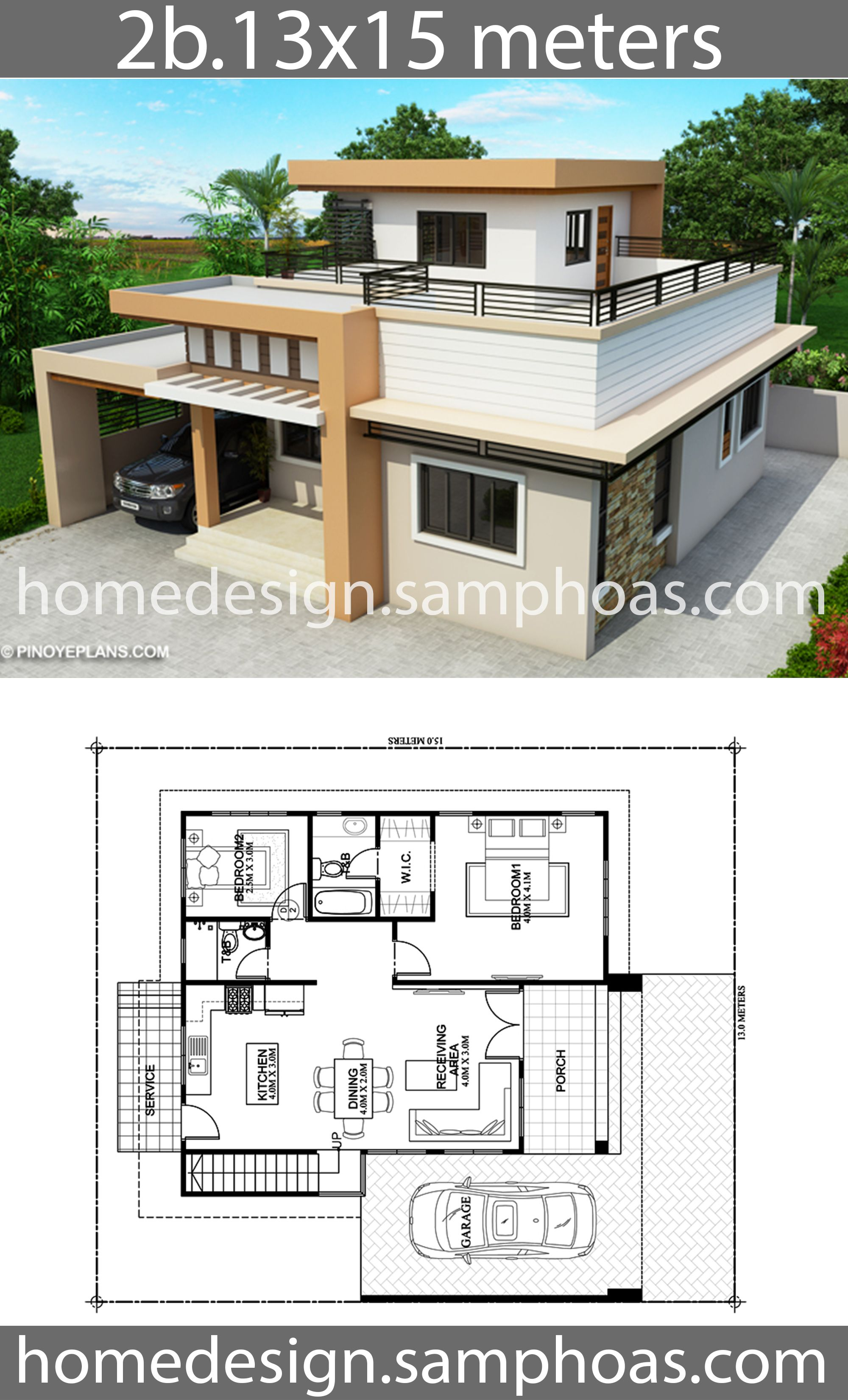 One Story House Plans 13x15m With 2 Bedrooms House Plan Map Beautiful House Plans House Plans Farmhouse House Plans