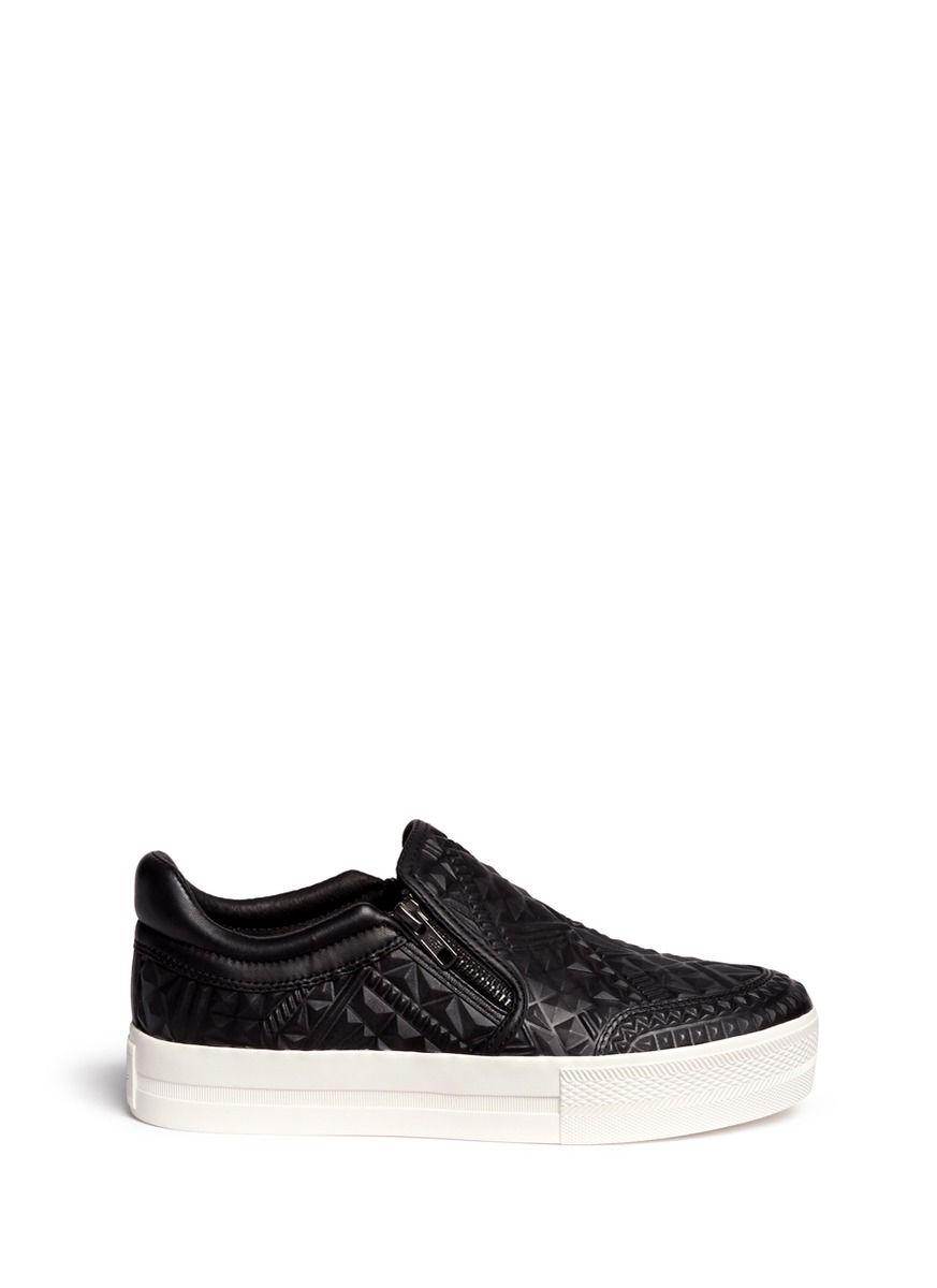 Denne sneak ville jeg gerne have ASH - 'Jig' embossed leather platform skate slip-ons | Black Skate Slip-Ons Sneakers |