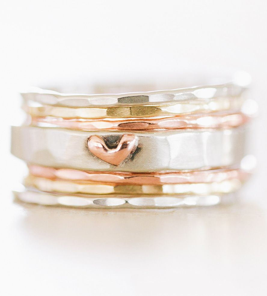 Gold heart stacking rings set of subtle textures iridescent