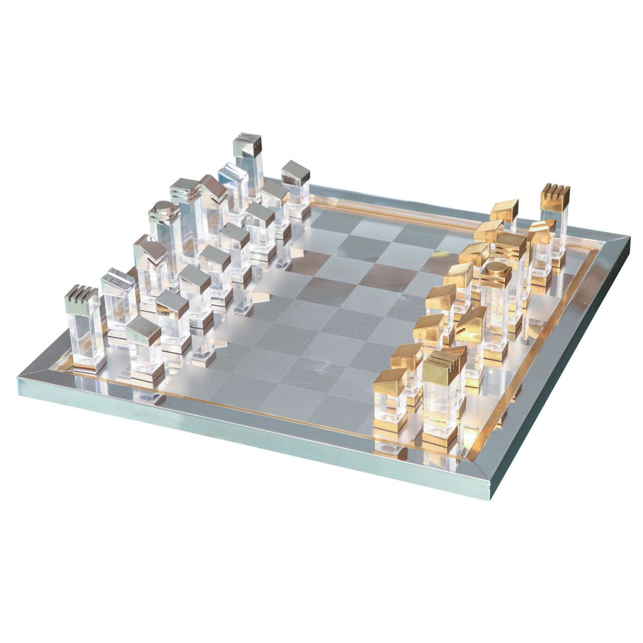 Steel Chess Pieces Romeo Rega Chess Set In Lucite Brass And Chrome D E S I