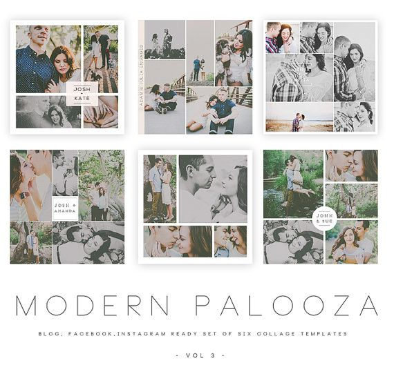 INSTANT DOWNLOAD Modern Palooza Blog, Facebook and Instagram Collage - facebook collage template