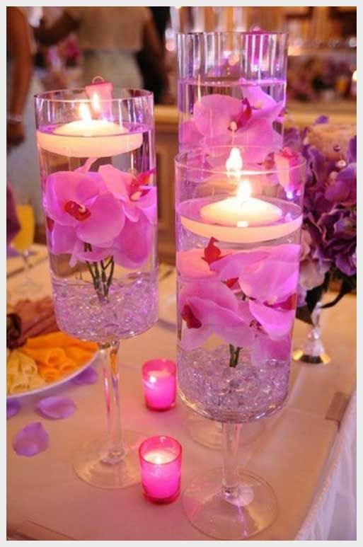 Create Unique Weddings With The DIY Wedding Ideas On Hot Pink Beach Table Decor Floating Candle Centerpiece