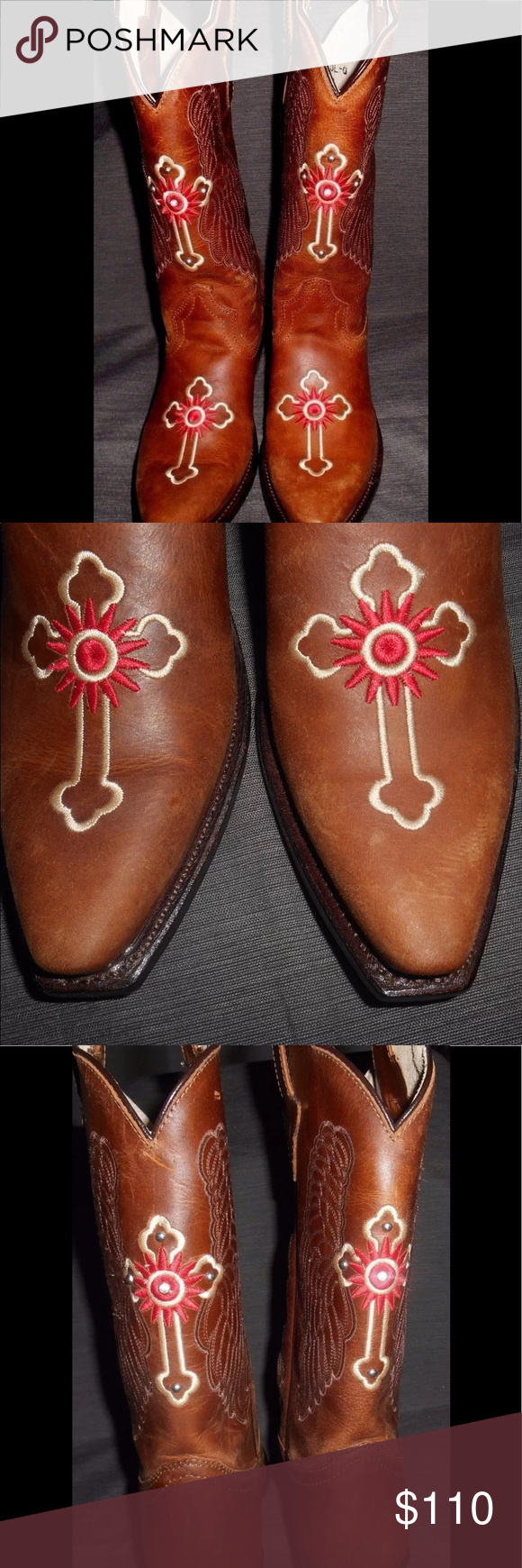 GYPSY ROSE COWGIRL BOOTS WOMENS SIZE 7.5 BROWN LEATHER EMBROIDER /& RHINESTONES
