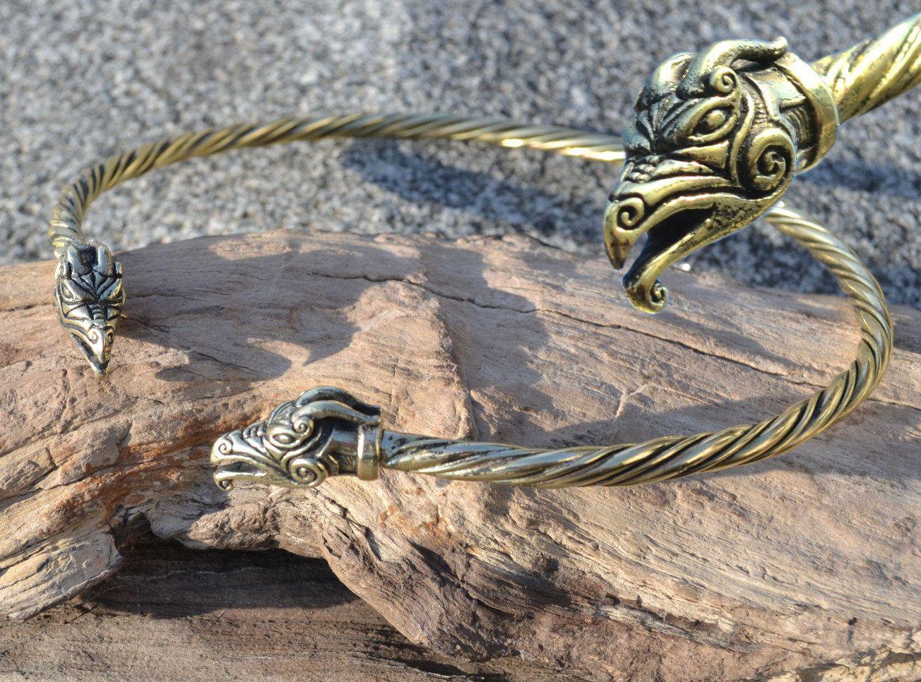 pagan celts, silver necklace vikings bronze Celtic Dragon Torc                        Viking