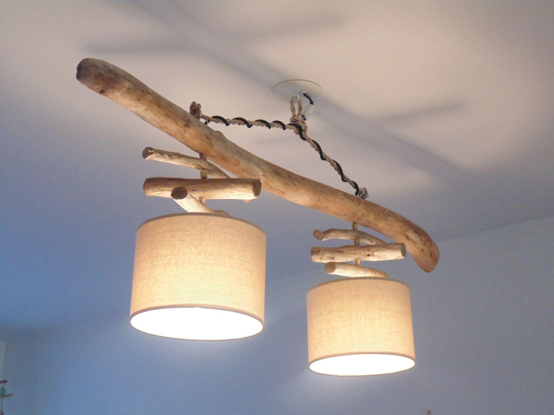 lustre plafonnier en bois flott lin 25 cm cr ation. Black Bedroom Furniture Sets. Home Design Ideas