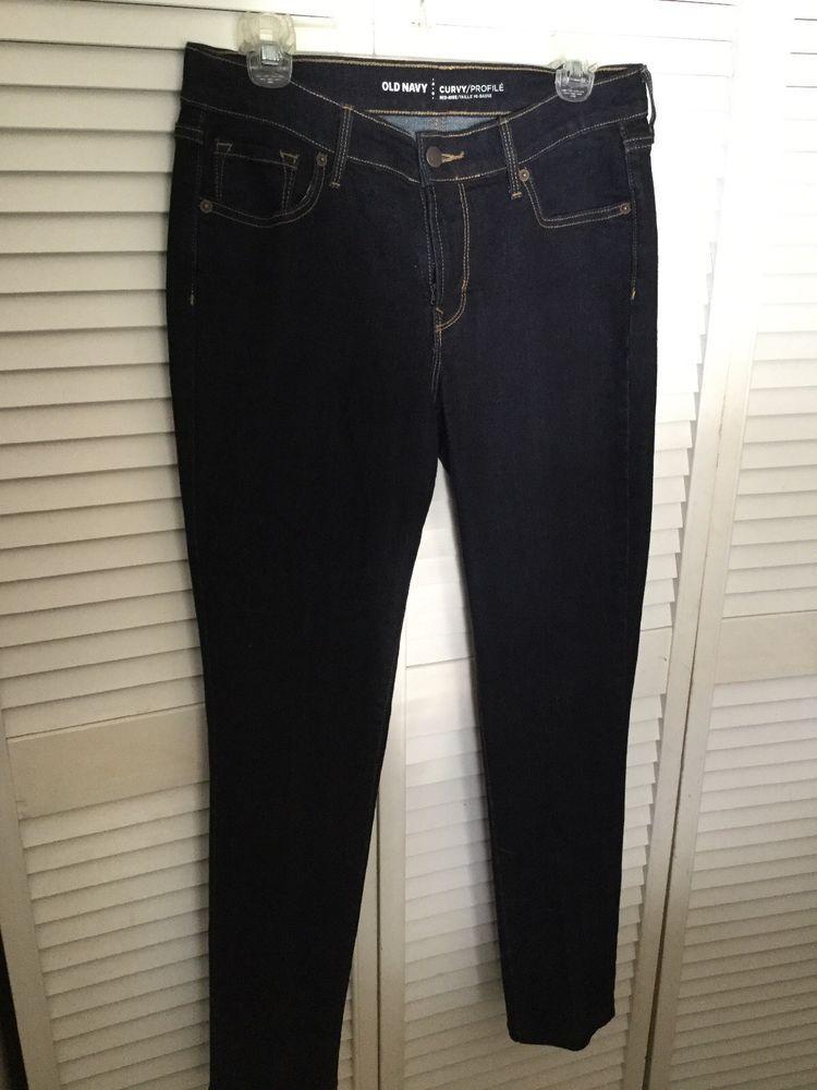OLD NAVY Curvy Profile Mid Rise Dark Blue Stretch Denim Jeans 8 Long