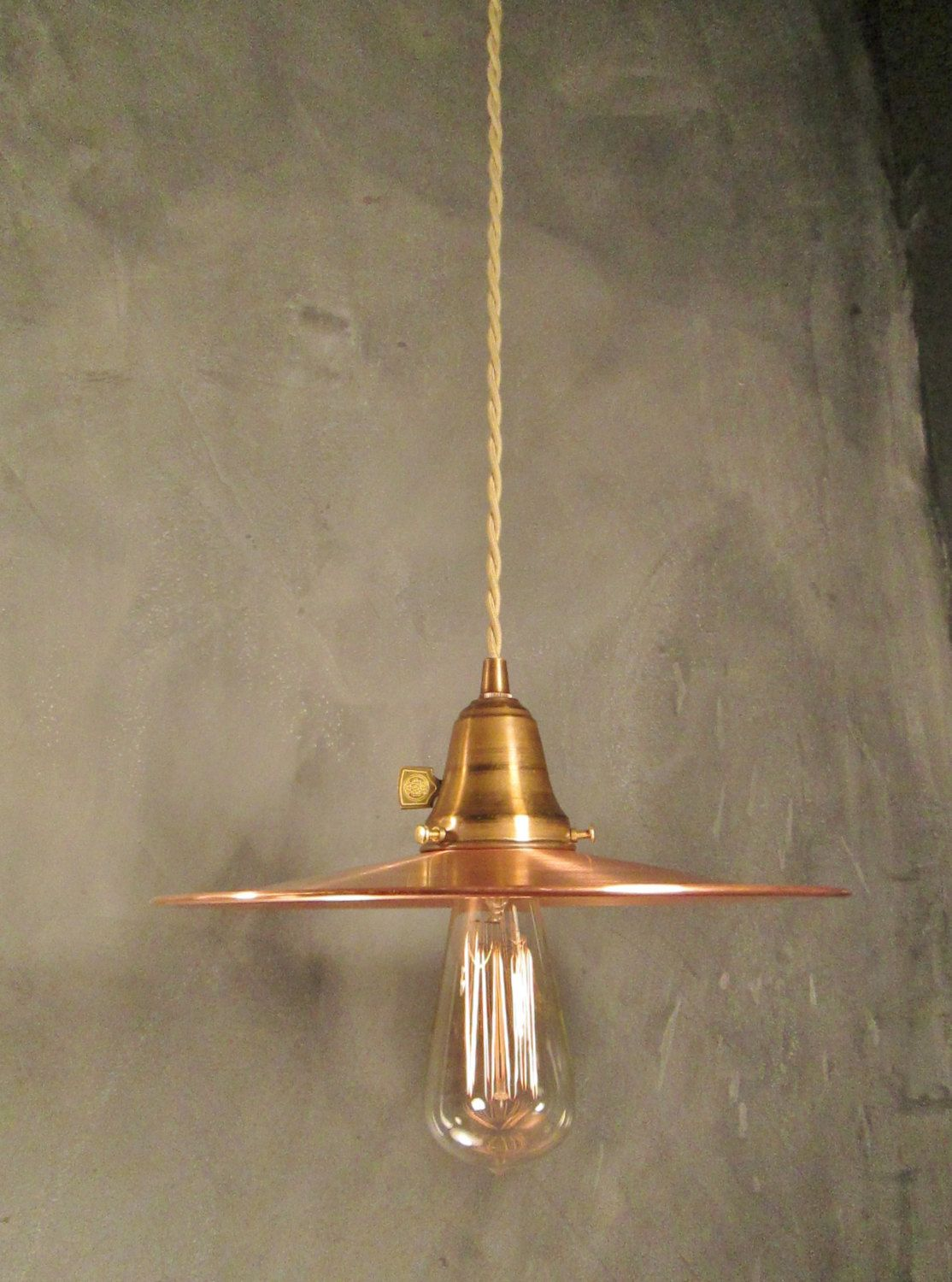 Vintage Industrial Pendant Lamp With Flat Shade Multiple Options Lighting Fixture Using On Wiring Ceiling Light Reproduction 1125 Custom Spun From Solid Copper Holder Of Unfinished Brass