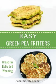 Easy Green pea fritters baby finger food recipe - this recipe is suitable for babies from 6 months and is a perfect baby led weaning finger food idea. With only 3 ingredients, it's dairy and gluten free. - Feeding Bytes #peafritters #babyfingerfoodrecipes #babyledweaningrecipes #babyfingerfood
