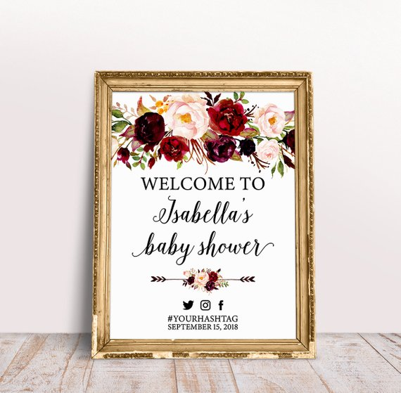 Rustic Marsala Baby Shower Welcome Sign Burgundy Baby Shower
