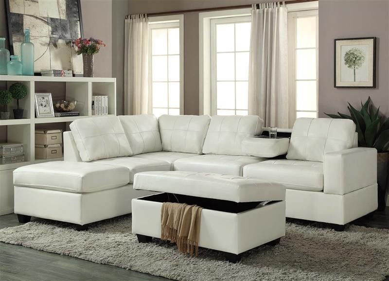 U5300 White Sectional With Ottoman   Living room leather ...