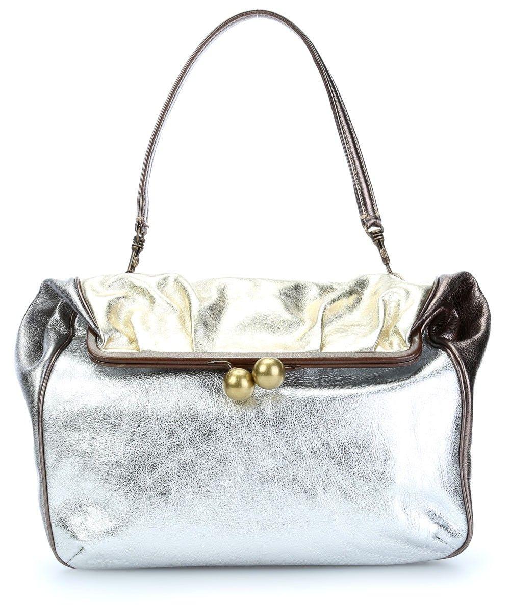 23c85bbe356c1 wardow.com -  bag  metallic  glitter  silber  CaterinaLucchi Pence  Henkeltasche Leder silber 34 cm