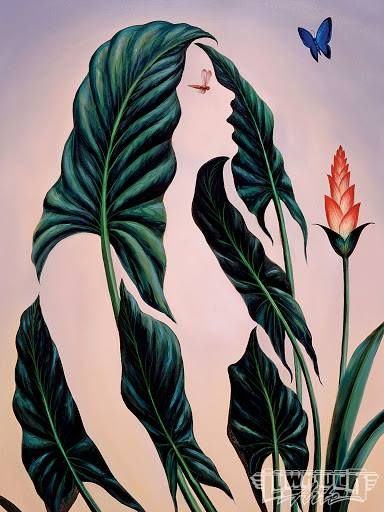 METAMORPHOSIS ART Artist: Octavio Ocampo Born in 1943 in Celaya, Guanajuato, Mexico Flowers Painting  Style: Surrealism