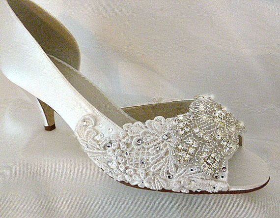 Low Heel Wedding Shoes Embroidered Lace Bridal Comfy Ivory Satin