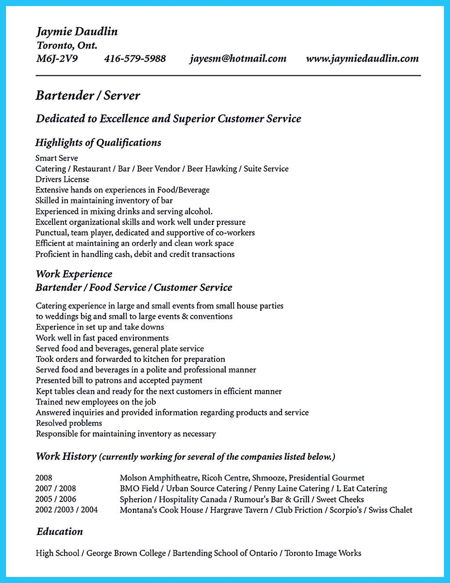 Do you know how to make a powerful and interesting bartender resumes