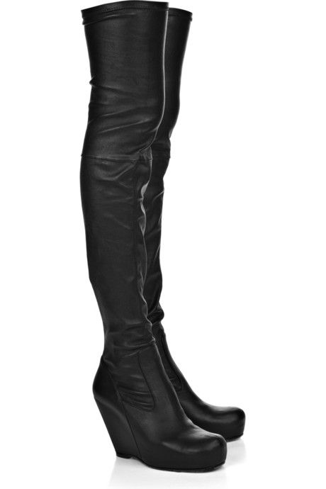 Rick Owens Leather Wedged Booties order cheap price shop offer cheap price clearance really clearance exclusive buy cheap genuine p1xW1