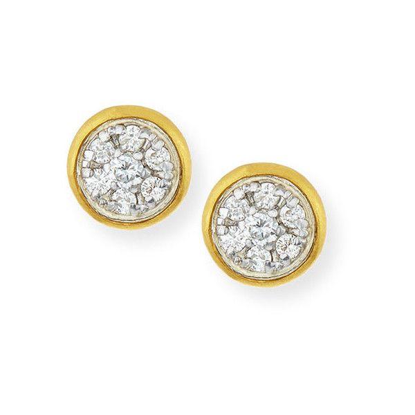 Gurhan Celestial Pave Diamond Stud Earrings ($2,625) ❤ liked on Polyvore featuring jewelry, earrings, 24 karat gold earrings, 24-karat gold jewelry, post earrings, pave earrings and pave diamond stud earrings