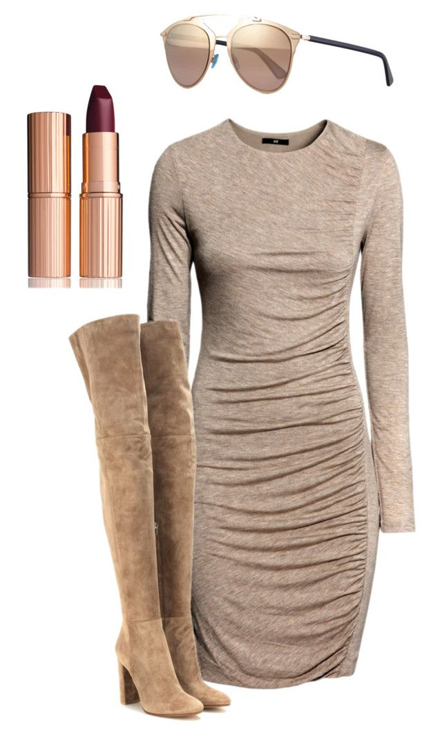 """Untitled #2716"" by yourmajestyjordine ❤ liked on Polyvore featuring H&M, Gianvito Rossi, Christian Dior and Charlotte Tilbury"