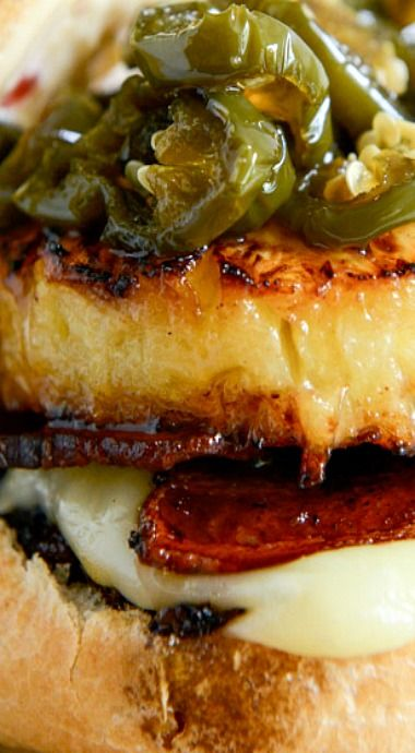 Bacon Pineapple Burgers With Candied Jalepenos And Sweet Chili Mayo Recipe Gourmet Burgers Cooking Recipes Food