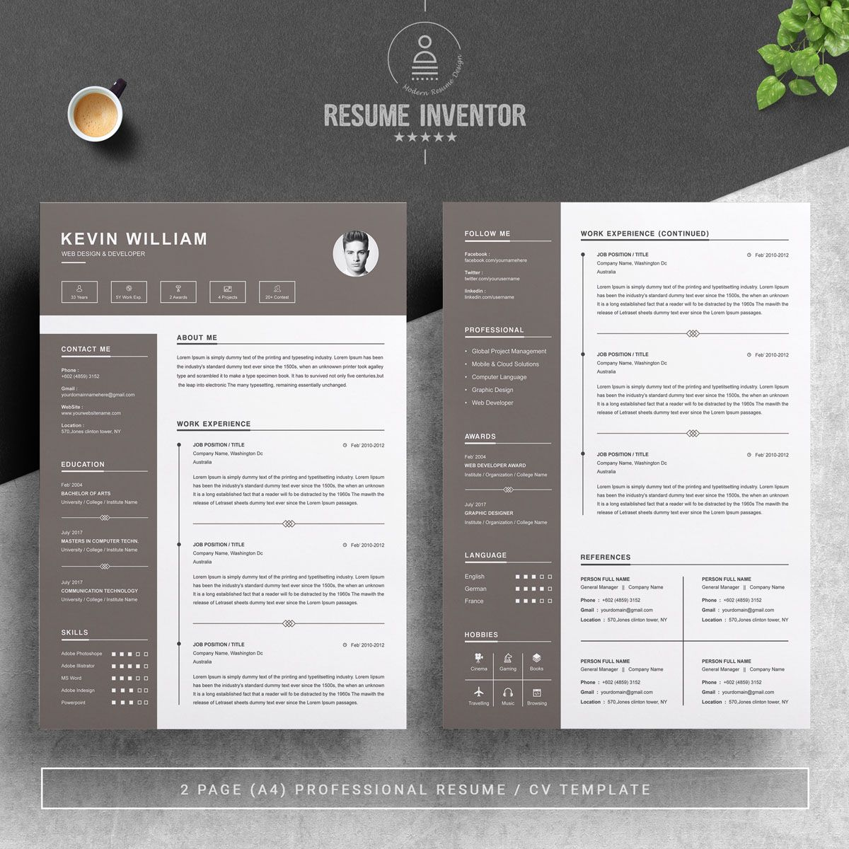 Kevin William Resume Template, Affiliate William Kevin