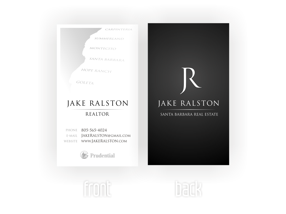 Winning Business Card For Jake Ralston A Real Estate Agent In Santa