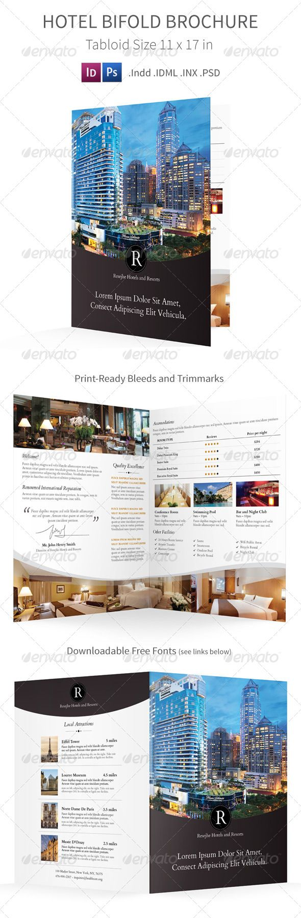 Hotel Bifold  Halffold Brochure  Brochures Template And