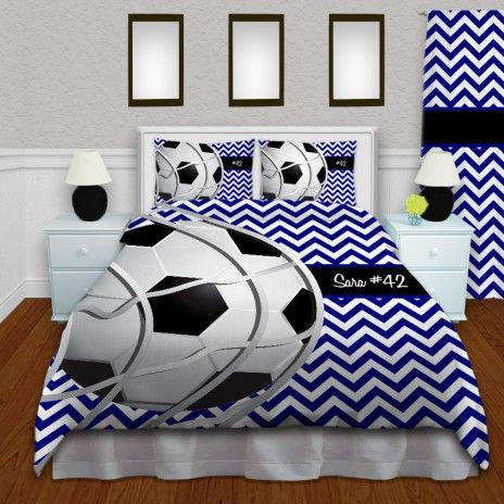 Black, White, And Blue Soccer Bedding For Kids And Teens #143  #EloquentInnovations