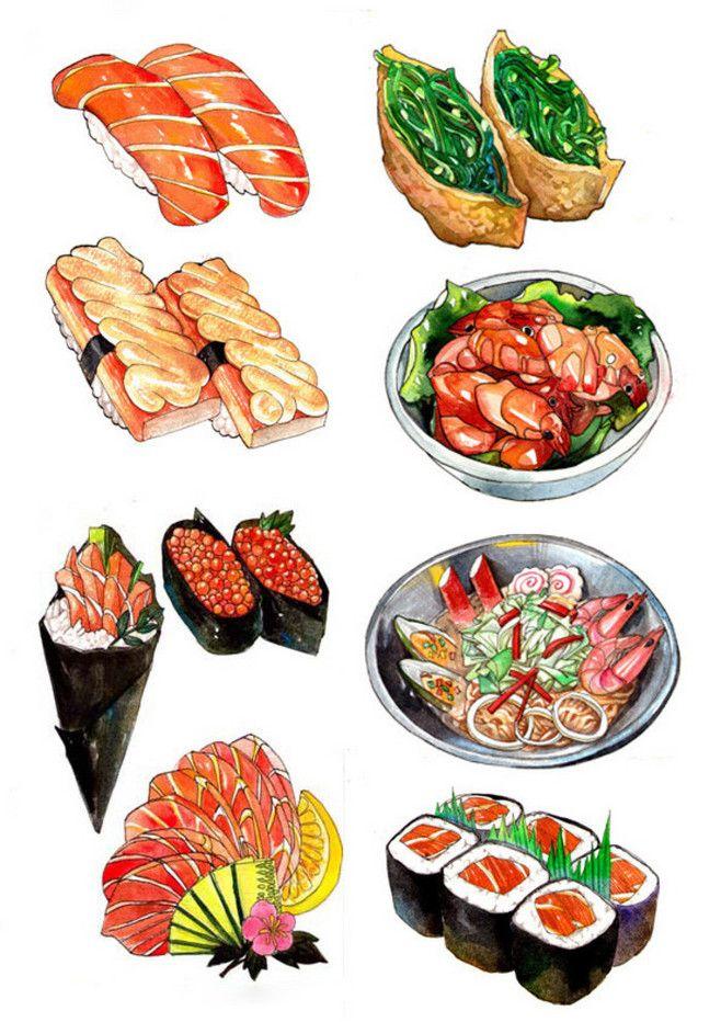 watercolor sushis japan sketchs pinterest art. Black Bedroom Furniture Sets. Home Design Ideas