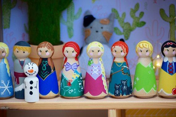 Pick Any 5 Tall Princess Peg Dolls Peg Dolls Rapunzel Peg Doll