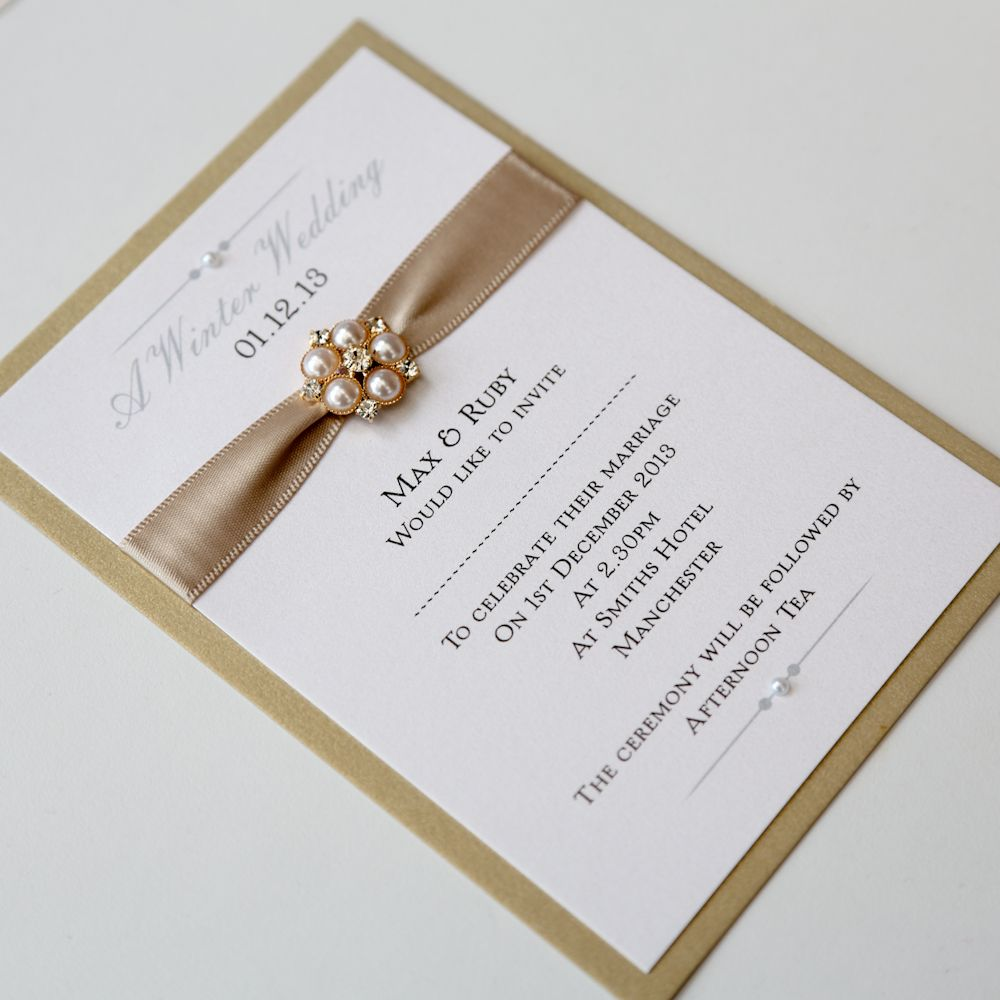 Gold & Ivory Flat Wedding Invitation with pearl brooch - Vintage ...