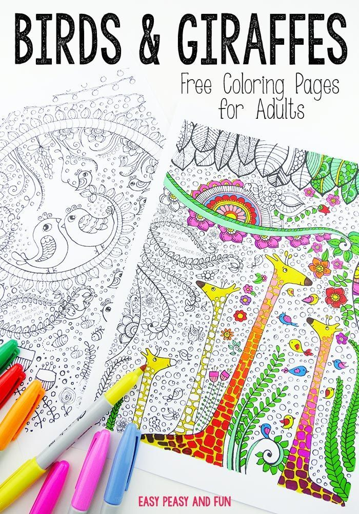 Birds and Giraffes Coloring Pages for Grown Ups | Crafts ...