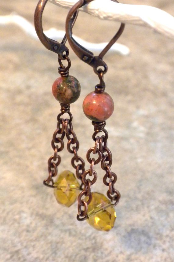 Antique Copper Chain Earrings Unakite Gemstone by APerfectGem, $13.00 www.etsy.com/shop/aperfectgem