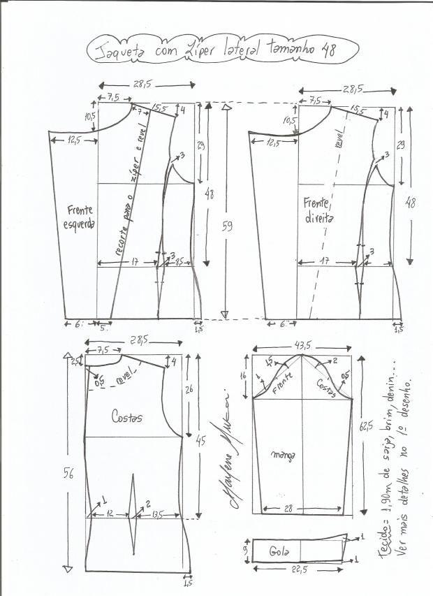 Patrón de chaqueta clásica - Patrones gratis | MOLDES DISENO Y ...